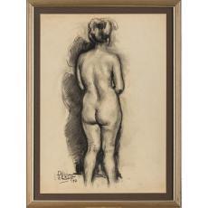 """TABLOU, ION PANTELI STANCIU , """" NUD VAZUT DIN SPATE """" , carbune,, 1951"""