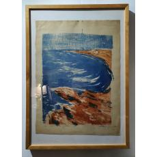 Marcel Chirnoagă, Lacul Sinoe la Histria, litografie color, 1961