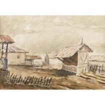 Tablou, Henri H. Catargi, Peisaj la țară, acuarela, 1941