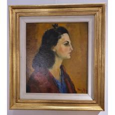 Tablou, Gheorghe Vânătoru,Profil de femeie ( Portretul sotiei ), ulei/ carton, 1946