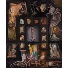 """Tablou, Petre Velicu , """" Reveletii """" , ulei / panza, 2008"""