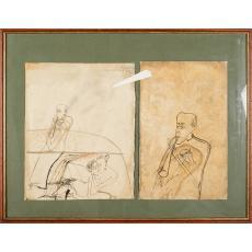 """Tablou, Sorin Ilfoveanu, """" Draperia care ascunde II """" , acuarela, 1998"""