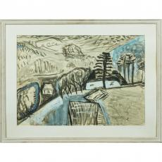 Tablou, Aurel Cojam, Peisaj de iarna, ulei / carton subtire