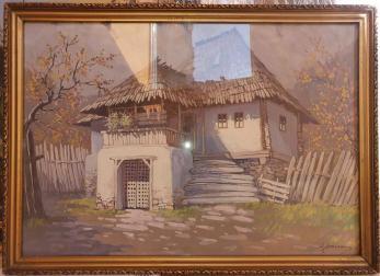 "Tablou, Ion Dobosariu, "" Casa taraneasca "" , ulei / carton"