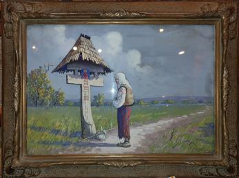 """Tablou, Ion Dobosariu, """" La troita """" , ulei / carton"""