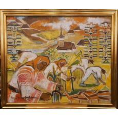 """Tablou, Florica Apostoleanu Teisanu, """" Secerisul """" ulei/panza, 1977"""