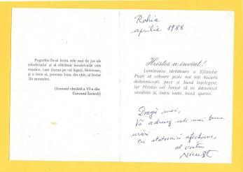 Nicu Steinhardt, Felicitare de Pasti, catre Florin Albulescu, aprilie 1988