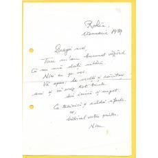 Nicu Steinhardt scrisoare catre Florin Albulescu, ianuarie 1989
