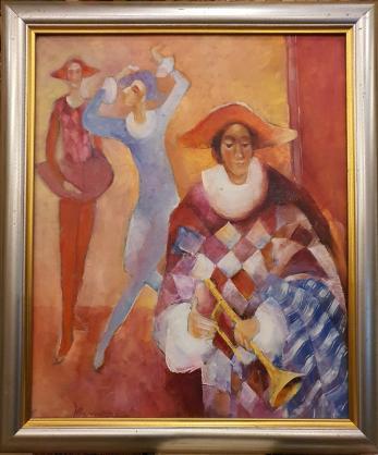"Tablou, Marilena Murariu, "" Arlechini "" , ulei / panza, 2001"