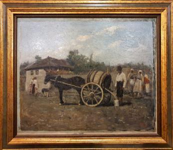 """Tablou, Nicolae Petrescu Mogos, """" Distribuirea apei in Bucuresti """" , u/c, 1933"""
