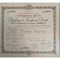 Diploma de Licenta in Drept, perioada Carol II, semnaturi Decan ( Florin Sion ) , Iasi 1935