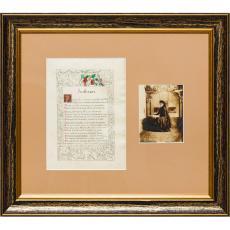 """Manuscris pictat al poeziei """"Închinare"""", de Ion Pillat, pe hârtie cerată, realizat de Maria Sturza, fiica lui Ion Ghica însoțit de fotografia reprezentând-o pe Maria Sturza la Miclăușani în 1907."""