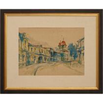 """Tablou, Ion Musceleanu, """" Calea Moșilor (spre Biserica Sfinților din București) """" , 1972"""