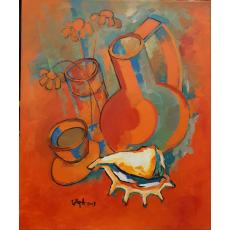 """Tablou, Nicolae Iorga, : Flori si scoica """" , ulei / panza, 2003"""