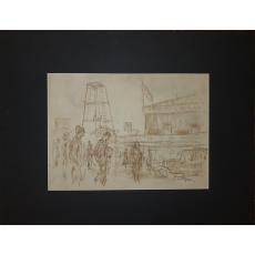 Tablou, Samuel Mützner, Zi de sarbatoare , creioane colorate / hartie
