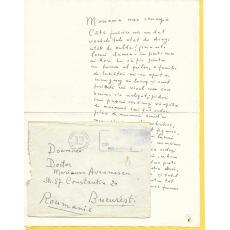 Scrisoare, Magdalena Radulescu ( pictor ) catre Marioara Avramescu, 1952
