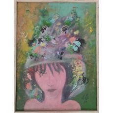 Tablou, Dan Bota, Pălăria cu pene, u/p, 2002