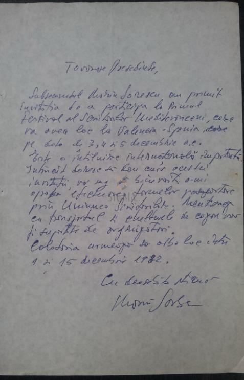 MARIN SORESCU cerere catre  Uniunea Scriitorilor 1982