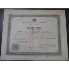 BREVET Medalia Jubiliara Carol I 1906