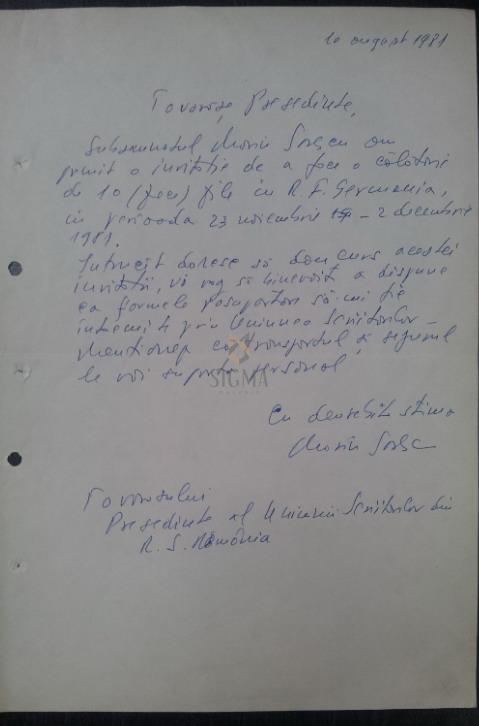 MARIN SORESCU document olograf UNIUNEA SCRIITORILOR 1981