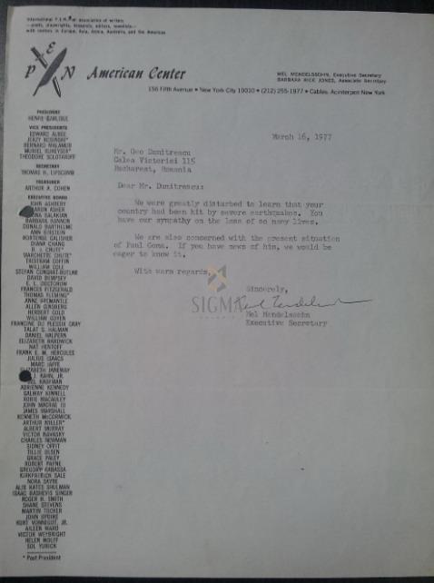 PAUL GOMA - Mel Mendelssohn document PEN American 1977